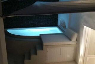 Olea Cave House II Villa night hot tub