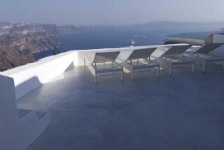 Olea Cave House II Villa sunbeds view